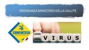 MINISTERO DELLA SALUTE:  ORDINANZA CONTINGIBILE E URGENTE